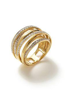 Vendoro Gold & Diamond Intersecting Band Ring