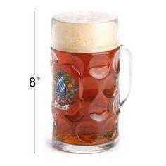 1 Liter Bavarian Crest Oktoberfest Glass Beer Stein