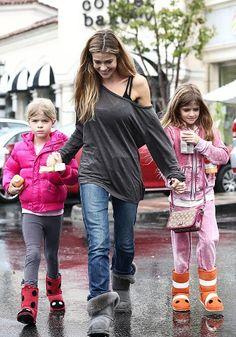 Denise Richards & Girls Brave The Rain in appaman's puffy coat