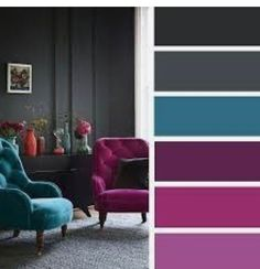 The living room color schemes to give the impression of more colorful living. Find pretty living room color scheme ideas that speak your personality. Living Room Color Schemes, Living Room Designs, Grey Living Room With Color, Living Room Decor Teal, Color Schemes With Gray, Teal Rooms, Bedroom Colors, Bedroom Decor, Master Bedroom