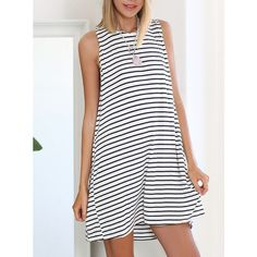 White Black Sleeveless Striped Dress (15 CAD) ❤ liked on Polyvore featuring dresses, white, white black dress, white dress, striped shift dress, black and white striped dress and white and black dresses