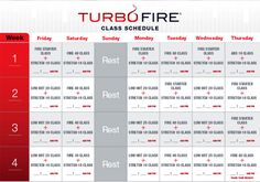 turbo fire pre workout schedule | Turbo Fire Calendar | Free Calendar Templates
