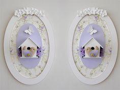 Quadro oval casinha de passarinho