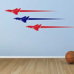 Detailed trio of fighter jets zoom across the wall. Great wall art for boy's bedroom or gameroom. Wall decal from http://cozywallart.com/