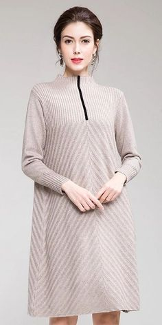 37ccdf1943cc Elegant Pure Color High Neck Sweater Dresses For Women T0038 Sweater  Dresses, Pure Products,
