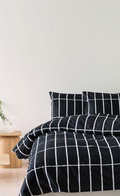 Tiiliskivi -pussilakana 150x210 cm - musta, valkoinen - Pussilakanat ja tyynyliinat - Makuu- ja kylpyhuone - Kotiin - Marimekko.com