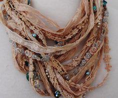 Shabby chic silk lace beaded necklace boho beaded by RawHemline