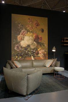 Bank Casa Mia en fauteuil Casa Mia in prachtig Olive leder - Woonwinkel Alle Pilat