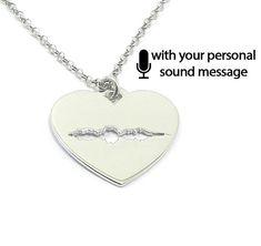 Sterling silver soundwave cut necklace,waveform necklace,sound wave pendant, waveform on heart, sonogram ultrasound - Ship by DHL EXPRESS