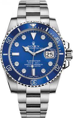 116619-BLUDD Rolex Submariner Blue Diamond Dial Mens Automatic Watch