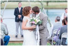 Just Married Kiss Ceremony Exit   bride and groom kissing after they were pronounced married