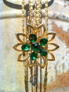 Vintage Gold and Emerald Flower Necklace by SouthernWhimsicality, $24.00