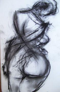 "Saatchi Online Artist: greg hoey; Charcoal 2010 Drawing ""NUDE XI"""