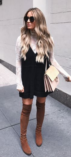 #fall #outfits women's black and white long-sleeve mini dress with pair of brown suede boots