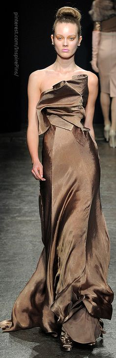 Donna Karan - Fluid Soft Brown Evening Gown