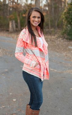 Want this! Too cute! The Pink Lily Boutique - Neon Snowflake Cardigan, $40.00 (http://www.thepinklilyboutique.com/neon-snowflake-cardigan/)