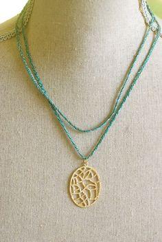 Summer bohemian gold pendant necklace. Tiedupmemories