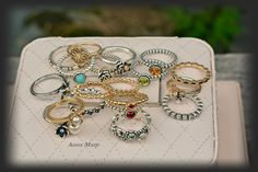 Pandora rings gold topaz ryby pearl rings