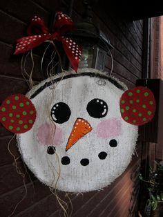 Burlap Snowman with ear muffs