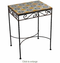 """Wrought iron side table with Talavera Tile top for the patio. $139.00 with shipping from Mexico. Also available in 13.75"""" x 13.75"""" size. Many tile designs to choose from, or make your own by buying tile separately and grouting them in by yourself."""