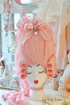 Beautiful Pink Marie Antoinette wig by Eye Candy Creations on Etsy