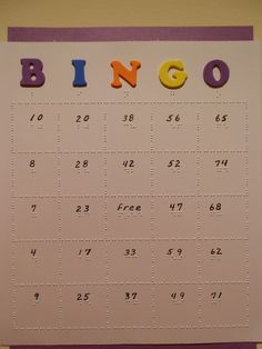 Braille BINGO cards:  Can be individually adapted for the blind student by your braille teacher or braille transcription service!  www.braillethis.com