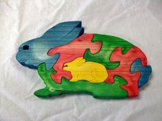 Wooden rabbit puzzle by CraftsbyGregandSilver for $8.00