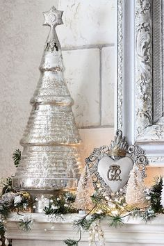 The Decorated House ~ Chrismtas Decor Decorations White with Mercury Glass and Silver