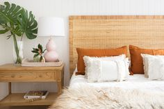 The Palms bedhead evokes relaxed coastal living with its combination of natural sustainable rattan wrapped over a solid Mahogany frame. Teak Table, Wooden Dining Tables, Bed Head, Coastal Living, White Washed Oak, King Size, Rattan, Weathered Oak, Home Collections
