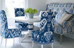 The Eco collection by Baker lifestyle is a fresh, spirited collection that was inspired by textiles gathered from around the world: ikats, suzanis, paisleys, linens, indigos and stripes – all made a little more modern by refining the designs and refreshing the colour. Shown here in a classic blue and white dinning room.