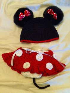 Crocheted Minnie Mouse inspired Flirty Skirt and Hat on Etsy, $35.00 -- One day I'll have my bestie make one of these for our little girl!!!
