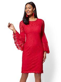 fb40edebd9 Statement-Sleeve Lace Sheath Dress. New York And CompanyLace ...