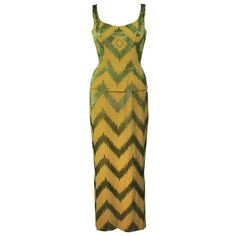 Preowned 1950's Green & Chartreuse Two Piece Beaded Gown Size 4 ($1,795) ❤ liked on Polyvore featuring dresses, gowns, green, vintage beaded dress, green ball gown, green evening gown, green dress and vintage evening dresses