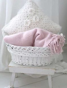 Pink and white comfort basket