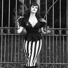 Laura Byrnes Twill High Waisted Skirt Stripes with Fishtail Hem Byrnes Pinup Girl Clothing Laura Byrnes California Lilith Top in Black Goth Vampire Halloween