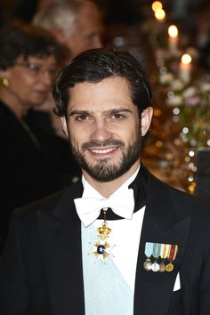Prince Carl suited up for the Nobel Prize Banquet in December 2013.