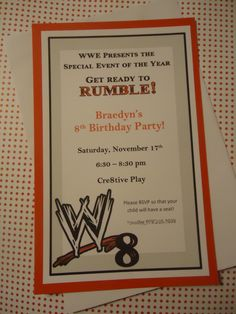 Wrestling Theme Invitation