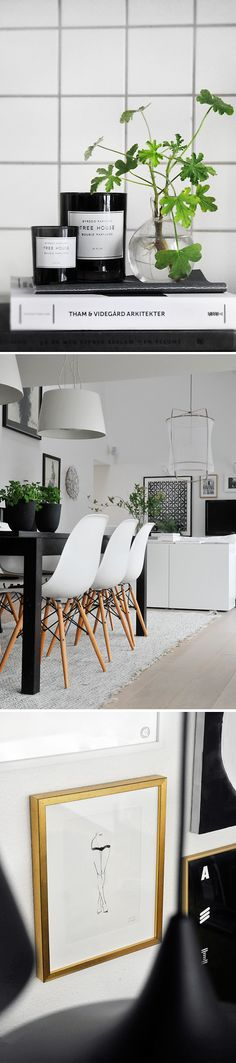 Design interior, Eames chair, white and black, a touch of green ! What a perfect match !