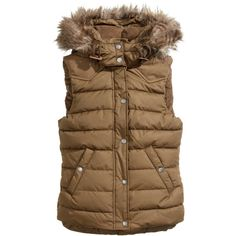 H&M Padded bodywarmer (860 RUB) ❤ liked on Polyvore featuring outerwear, vests, jackets, vests / gilets, brown, zipper vest, h&m vest, brown waistcoat, padding vest and fleece lined vest