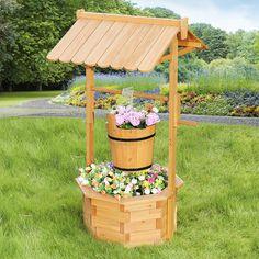 Wooden Wishing Well Planter - Amish Furniture Crafts | Garden decor ...