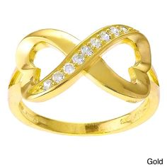 La Preciosa Sterling Silver White Cubic Zirconia Heart Design Infinity Ring (Gold-Plated: Size ) Women's