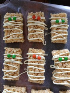 Mummy Halloween Rice Krispie treat. Melted white chocolate and m and m.