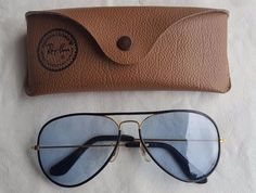 VINTAGE RAY BAN B&L AVIATOR PILOT 58 MM BLACK LEATHER FRAME BLUE GRAY LENS +CASE #RAYBAN #AVIATORPILOT #Everyday