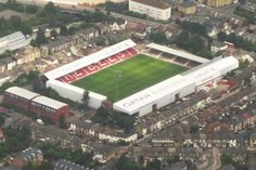Aerial View of Griffin Park - Brentford Soccer Stadium, Football Stadiums, Sport Football, British Football, European Football, Brentford Fc, Bristol Rovers, England Football, World Cities
