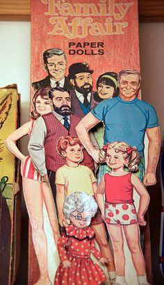 """""""Family Affair"""" Paper Dolls w/plastic stands ~TV show originally ran from 1966-71"""