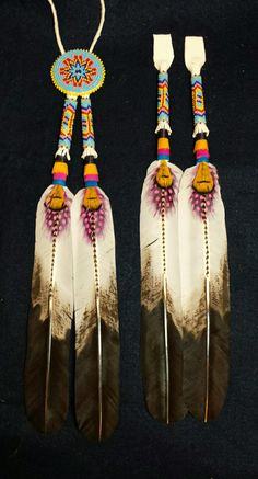 Scalp feathers made by Scott Sutton October 2016. Custom ordef. Faux feathers. Goose, pheasant, grouse and others used in the featherwork.  Beaded in 11/0 cuts.