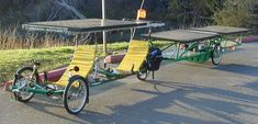 Side view of the solar bike.. Really odd & impractical.. but kudos to the research