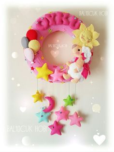 Foam Crafts, Baby Crafts, Diy And Crafts, Crafts For Kids, Arts And Crafts, Felt Wreath, Fabric Wreath, Felt Garland, Bear Felt