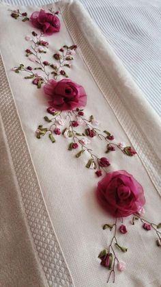 Wonderful Ribbon Embroidery Flowers by Hand Ideas. Enchanting Ribbon Embroidery Flowers by Hand Ideas. Ribbon Embroidery Tutorial, Embroidery Flowers Pattern, Hand Embroidery Stitches, Silk Ribbon Embroidery, Hand Embroidery Designs, Embroidery Kits, Embroidery Techniques, Embroidery Supplies, Ribbon Art