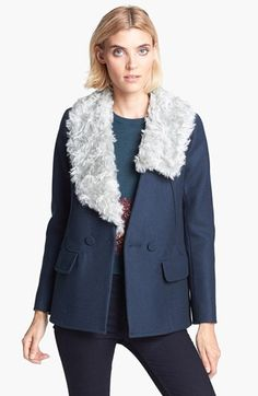 Carven Double Breasted Coat with Removable Faux Fur Collar